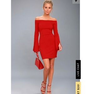 Lulu's red off the shoulder bodycon mini dress M